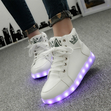 led high top shoes woman ligh up Glowing casual shoes female flat with neon basket USB Charge shoes lace up unisex hot fashion