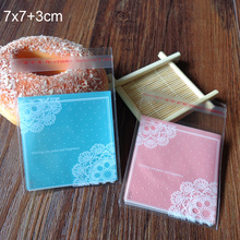 400pcs Light Pink and Light Blue Lace Dots Self Seal Food Packing bag Cellophane Bag, Cute Biscuit bag Plastic Party Favor Bag