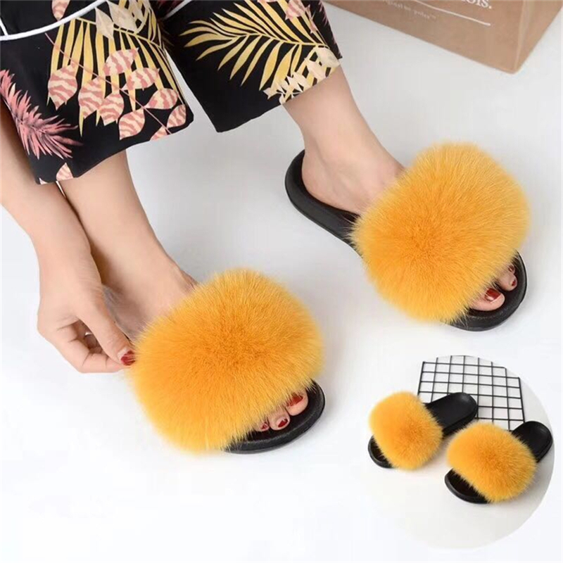 fur slippers yellow darker 2