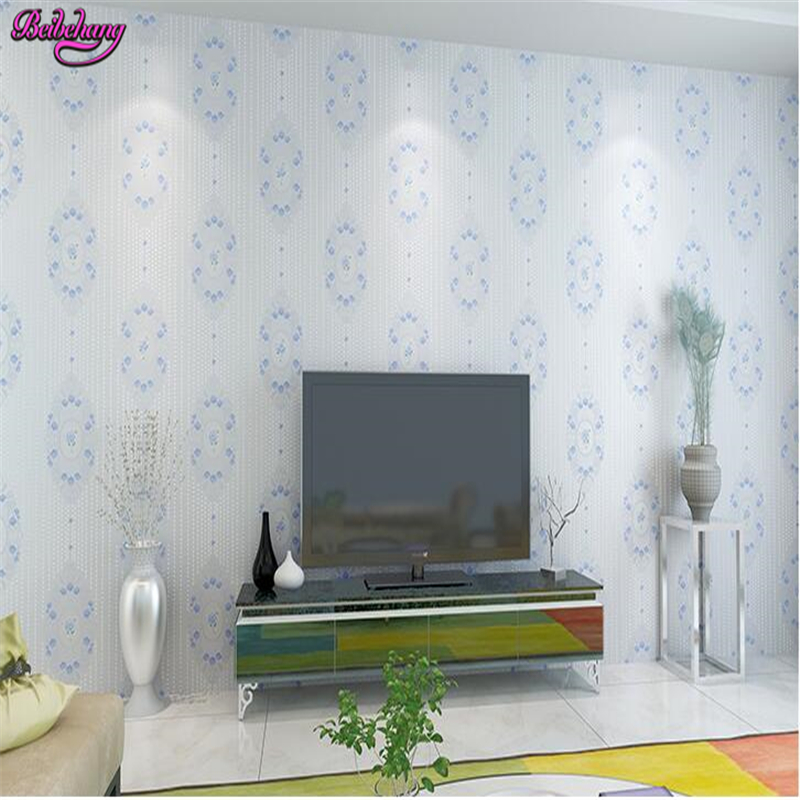 beibehang papel de parede Non woven warm romantic bedroom with the background wall han type simple purple wedding room wallpaper<br>