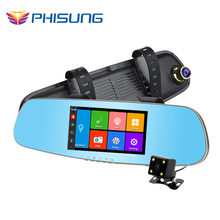 "Phisung GPS Navi car dvr android+5.0""IPS Touch+ROM 16GB+FM transmitter+Dual Camera parking rear view mirror car camera recorder"