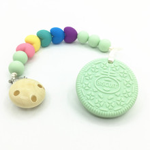 Biscuit teether of Silicone Teething Pacifier Clip - silicone Universal Soother Clip  - baby teething pendant necklace