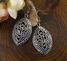 New Arrival Bohemia Vintage Jewelry National elements Tibetan Silver Carving Hollow Retro Drop pendant Earring for Women MK-012(China)