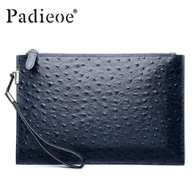 Luxury Genuine leather famous designer brand bags women leather handbags new fashion ostrich pattern men clutches