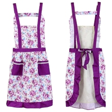 Korean Princess Aprons Double Widening Strap Rose Waterproof Aprons purple