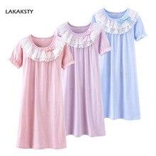 4-13 Years Cotton Kids Girls Nightgowns New Summer Children Bathrobe Dress Pricess Baby Lace Homewear Gowns Big Girl Sleepwear