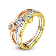 ROXI Rose Gold Color Classic Simple Design heart Solitaire 3 round Zirconia  forever Wedding Ring bijoux