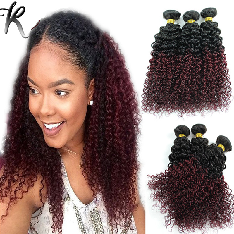 Peruvian Ombre Kinky Curly Virgin Hair Rosa Hair Product 3PCS Dark Roots 99J Burgundy Jerry Curly Two Tone Ombre Hair Extensions<br><br>Aliexpress