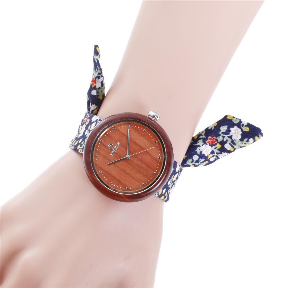 REDEAR Women Watches 2017 Top Brand Luxury Wooden Watches Wood Watch with Flower Cloth Strap Quartz Watch<br>