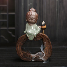Creative Gift Home Decor Zen Monk Buddha Censer Ceramic Yixing Aroma Backflow Incense Burner with Wood Base Tea Pet Ornament