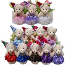 Lovely Mini Bear Soft Plush Toy Phone Charm Stuffed Small Toy Promotional Christmas Bear Doll For 12cm 50pcs/lot