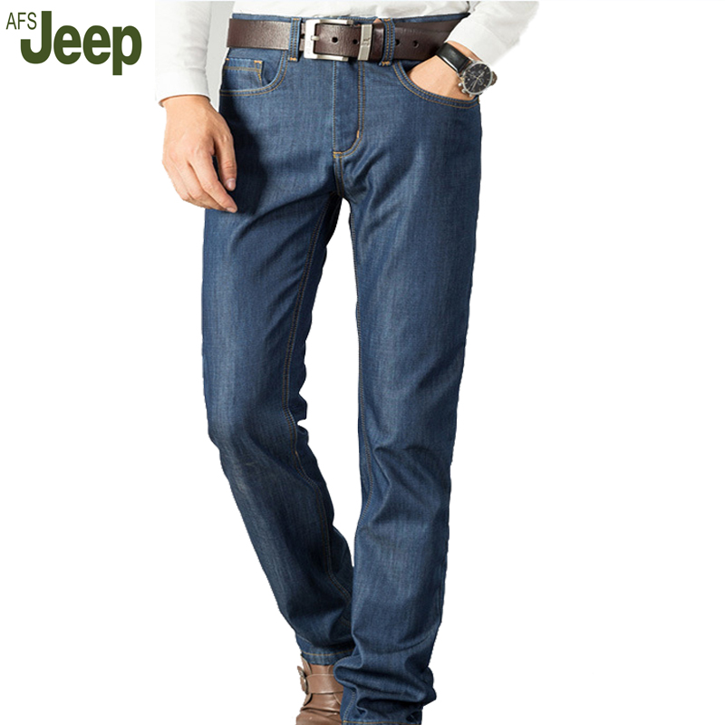 AFS JEEP 2017 new velvet thickening warm mens jeans fashion casual mens denim trousers comfortable mens solid color jeans 65Одежда и ак�е��уары<br><br><br>Aliexpress