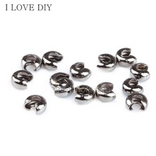 200Pcs /lot 3mm Silver Plated Crimp Beads Knot Covers End Beads Jewelry Finding For DIY Making(China)