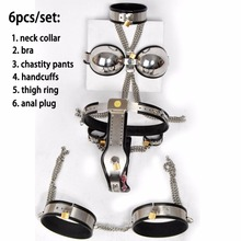Buy 6pcs/set Female chastity belt bdsm bondage kit slave fetish handcuffs neck collar stainless steel chastity device sex products