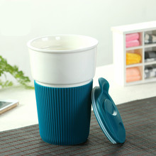 Outdoor Sport Non Slip Ceramic Instant Coffee Mug Cups Burn Proof Insulation 350ML Capacity for Milk Tea Coffee(China)