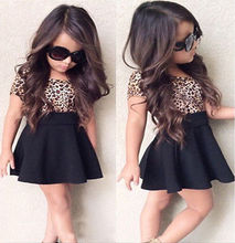 Leopard 2017 Cute Baby Girls Kid Princess Short Sleeve T-shirt Top Short Dress Outfits Tutus
