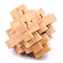 1PCS Chinese Kongming Luban Intelligence Wooden Lock Puzzle Toy For Child Over 3 Years Old 76*76*76mm