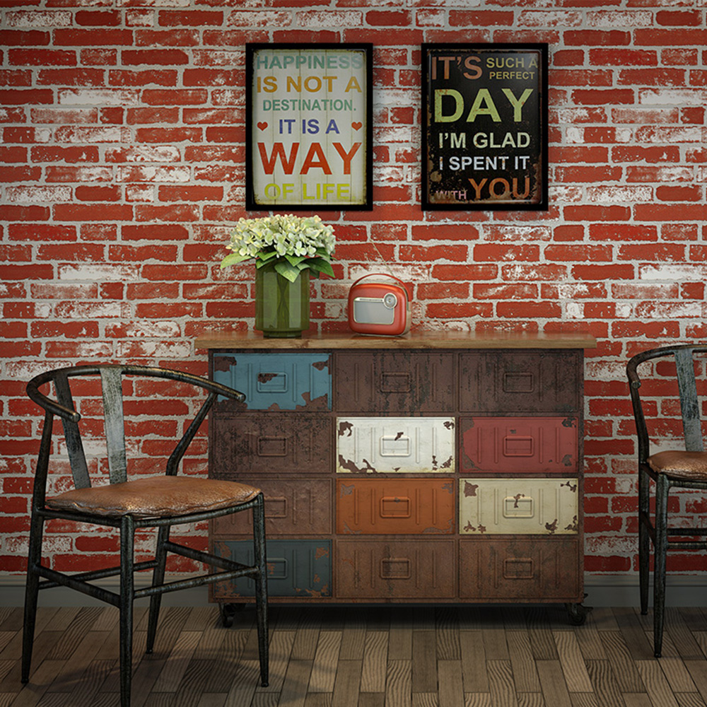 HaokHome Modern Faux Brick Wallpaper Rust Red/White 3D Textured Stone Paper Rolls Living room Bedroom Home Wall Decoration<br>