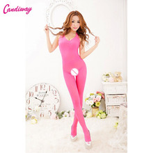 Hot Sexy Lingerie Dark Pink Bodystocking Sex Men's Body Pantyhose Open Crotch Tight Stockings Transparent Pantyhose Sexy Costume(China)