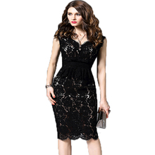 Buy Elegant Women Fashion Office Dress Vestidos Mujer 2017 New Summer Sleeveless Sexy V-neck Vintage Slim Black Bodycon Lace Dresses for $21.80 in AliExpress store