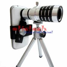 by dhl or ems 20pcs Camera Telescope Lens Camera Lens 12X Zoom + Mount Tripod For iPhone for Samsung Android phone(China)