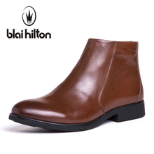 Blaibilton British Autumn Winter 100% Luxury Genuine Cow Leather Western Cowboy Boots Men Shoes Warm Fur Mens Ankle Snow Boot(China)