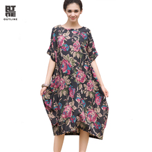 Outline Brand Summer Women Dress Vintage Cool Ethnic Plus Size Dress Loose Wiast Print Dress Boho Floral Dresses L142Y027