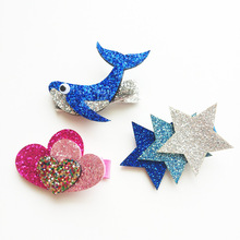 2017 New Fashion Child Tiara Girls Hair Clips Felt Glitter Cute Blue Heart Dolphin Star Hair Barrettes Kids Hair Accessories