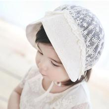 New Flower lace Cotton Baby Summer Hat Kids Girls Floral Bowknot Cap Sun Hats photo props D3-26B(China)