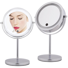 7 Inch 10x Magnifying Make up Mirror Touch Screen LED Lighted Makeup Mirror Dual 2 Sided 360 Degree Rotating Cosmetic Mirror(China)