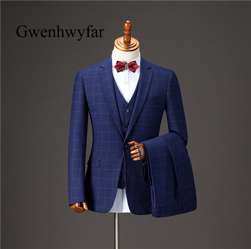 Gwenhwyfar Men Suits 2018 New Fashion Blue Men Suits Prom Party Wedding Groom Tuxedos Business Men Plaid Suits Blazer 3 Pieces
