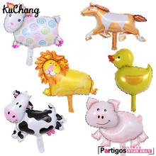 50pcs MINI Cow Pig Sheep Lion Foil Balloon Animal Mylar Air Balloons 40*30cm birthday party baby shower supplies balaos ball(China)