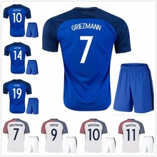 best quality 2016 Euro Cup Soccer Jersey kits France 2017 Ribery Zidane Benzema Griezmann Pogba Henry Football Shirts(China)