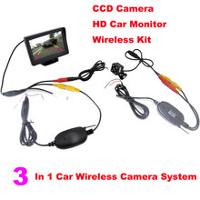 Wireless Car Parking Assistance Video Monitors , 3 in 1 Wireless Car Rear View Camera Monitor System 2.4Ghz Wireless Camera Kit(China)