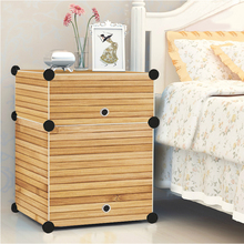 Simple modern solid wood bed bedside cabinets bedroom furniture lockers lines