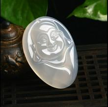 Natural jade men and women models agate chalcedony jade crafts laugh Buddha jade pendant(China)