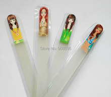 Wholesale 200Pcs Czech Republic Crystal Glass Nail File  Lady picture print clear nail case with Sleeve 5.5''-DHL Free shipping