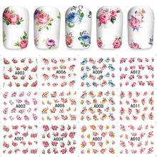 12pcs / Sheet Watermark Nail Stickers Mixed Flower Cartoon Nail Art Water Transfer Sticker Decals Manicure Wraps Decor