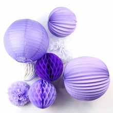 New 8pcs Purple / White Theme Home Paper Decoration Flowers Romantic Wedding Party Hanging Birthday Party Decoration Outdoor