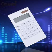 CEWAAL Portable 12 Digital Calculator Solar Power Energy Crystal Keyboard Battery Dual Power Electronic Calculator