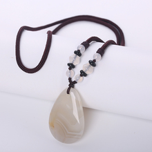 Original Natural Agate Necklace Water Drop Pendant Long Chain Bohemia Necklace Pendant Reiki Onyx Charms Lucky Fine Jewelry Gift(China)