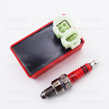 6 Pin AC CDI Ignition Box + 3 Electrode Spark Plug A7TC for GY6 50cc 125cc 150cc Moped Scooter Dirt Bike Motorcycle Motocross