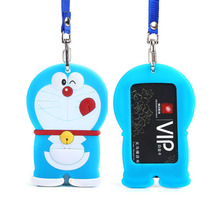 Character Silicone card case holder portable cute cartoon String Metro ID bus Identity badge with lanyard porte carte credit