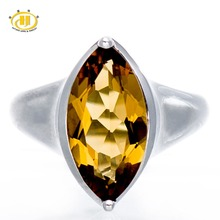 Hutang Brand 925 Sterling Silver Jewelry 3.50Ct Oval Natural Champagne Quartz Gemstone Rings for Women Wedding Anel Mujer Koyle