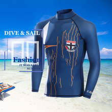 DIVE&SAIL Official store Blue color Men Lycra Rash Guard UV Swimming long sleeve Swim skin wetsuit for Snorkeling cool man(China)