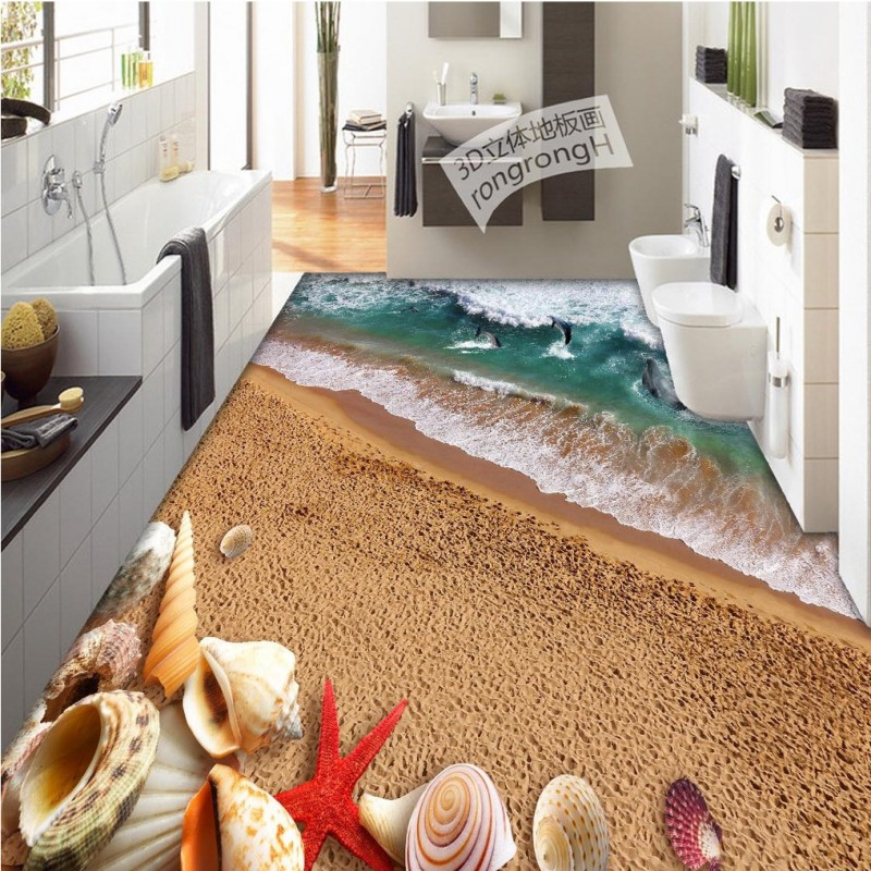Free Shipping Surf Shell 3D flooring painting wallpaper living room office kitchen decoration self-adhesive floor mural<br>