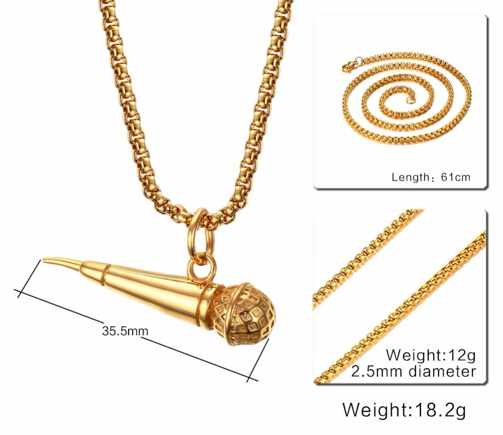 Mens Gold Plated Microphone Pendant Necklace Rock Punk Jewelry 110