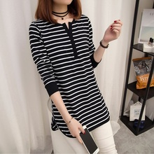 Buy T Shirt Women Clothes 2017 Striped Tshirt Long Sleeve Tops Womens Clothing T-Shirts Easy Casual Tee Shirt Femme Poleras Mujer for $9.10 in AliExpress store