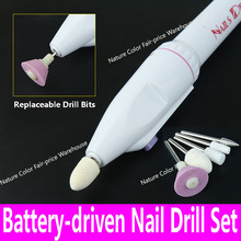 Battery driven Drill Set 5 bits Electric Manicure Pedicure Nail Power Drill Tool kit Nail Art Tools False Nail Sanding Buffing