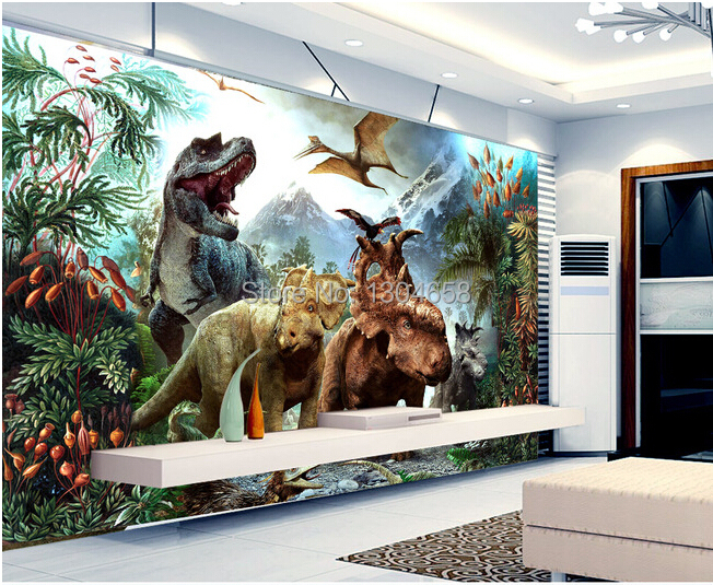 Free shipping childrens wallpaper for living room backdrop bedroom childrens room Vinyl wallpaper dinosaur<br>